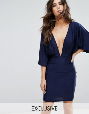photo Plunge Front Mini Dress with Kimono Sleeve by NaaNaa, color Navy - Image 1
