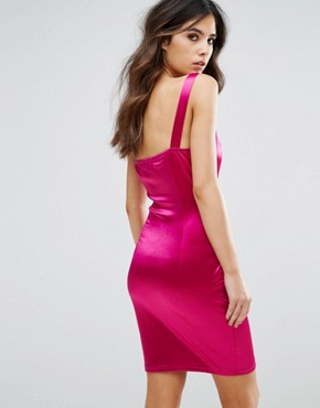 photo Structured Satin Bodycon Dress with Corset Lace Up by NaaNaa, color Fuchsia - Image 2