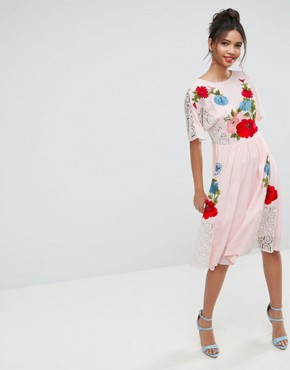 photo Embroidered Dress with Open Back by ASOS PREMIUM, color Pink - Image 1
