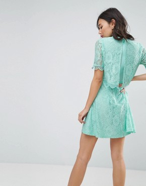 photo Mini Skater Dress in Lace with Crop Top Layer by ASOS, color Mint - Image 2