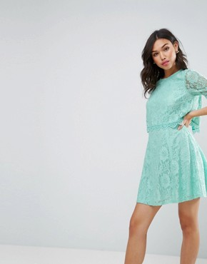 photo Mini Skater Dress in Lace with Crop Top Layer by ASOS, color Mint - Image 1