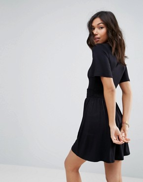 photo Shirred Waist Tea Dress with Frill Sleeve by ASOS, color Black - Image 2
