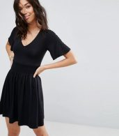 photo Shirred Waist Tea Dress with Frill Sleeve by ASOS, color Black - Image 1