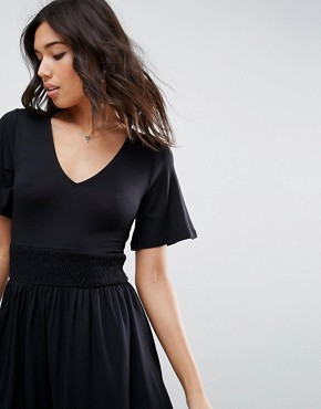 photo Shirred Waist Tea Dress with Frill Sleeve by ASOS, color Black - Image 3