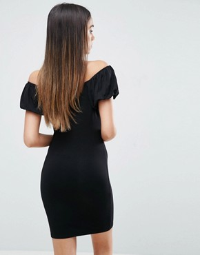 photo Off Shoulder Mini Bodycon Dress with Puff Sleeve by ASOS, color Black - Image 2