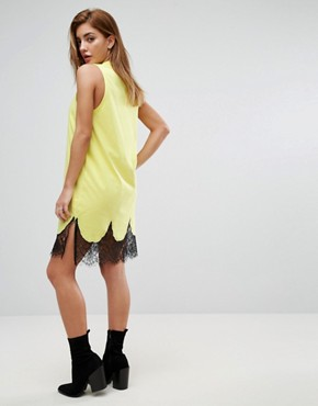 photo Sleeveless Mini T-Shirt Dress with Lace Inserts by ASOS, color Fluro Yellow - Image 2