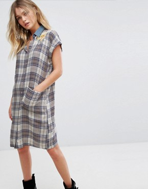 photo Check Shirt Dress with Denim Collar and Embroidery by Diesel, color Multi - Image 1