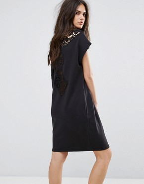 photo Lace Insert Jersey Dress by Diesel, color Black - Image 2