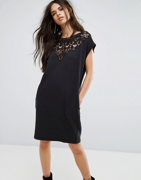 photo Lace Insert Jersey Dress by Diesel, color Black - Image 1