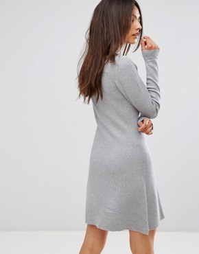 photo Jumper Dress with Tie Neck Detail by QED London, color Grey Marl - Image 2