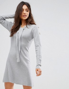 photo Jumper Dress with Tie Neck Detail by QED London, color Grey Marl - Image 1