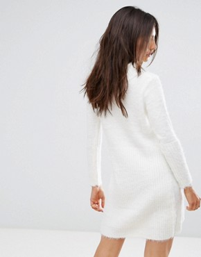 photo Oversized Roll Neck Jumper Dress by QED London, color Cream - Image 2