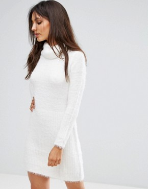 photo Oversized Roll Neck Jumper Dress by QED London, color Cream - Image 1