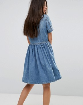 photo Denim Dress with Flare Skirt and Embroidery by Diesel, color Light Wash Blue - Image 2