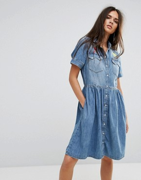 photo Denim Dress with Flare Skirt and Embroidery by Diesel, color Light Wash Blue - Image 1