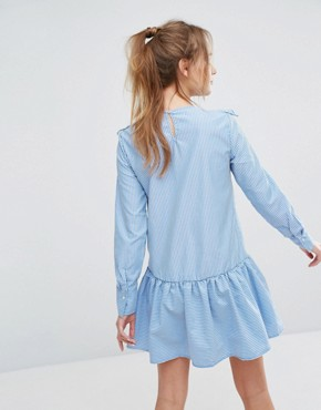 photo Stripe Frill Front Dress by Pull&Bear, color Blue - Image 2