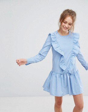 photo Stripe Frill Front Dress by Pull&Bear, color Blue - Image 1