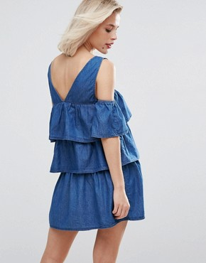 photo Layered Ruffle Cold Shoulder Denim Dress by Pull&Bear, color Blue - Image 2