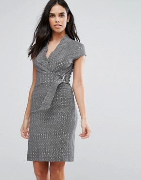 photo Miniture Tile Print D-Ring Dress by Liquorish, color Grey - Image 1
