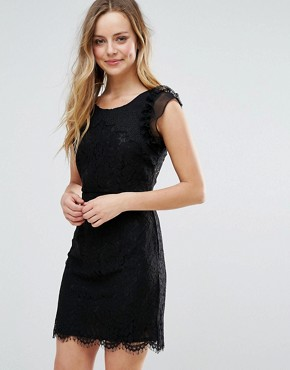 photo Lace Mini Dress with Scalloped Hem by Liquorish, color Black - Image 1