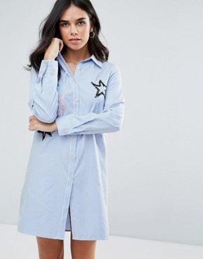 photo Shirt Dress with Embroidered Star Detail by Liquorish, color Light Blue - Image 1