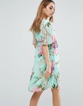 photo Floral Printed Woven Tea Dress by Mamalicious, color Multi - Image 2