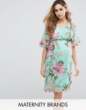 photo Floral Printed Woven Tea Dress by Mamalicious, color Multi - Image 1
