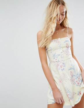 photo Button-Through Cami Dress with Print by Hollister, color Yellow - Image 1