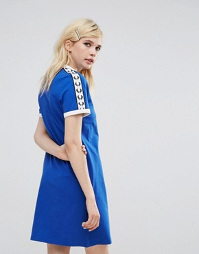 photo Archive T-Shirt Dress with Logo Tape by Fred Perry, color Blue - Image 2