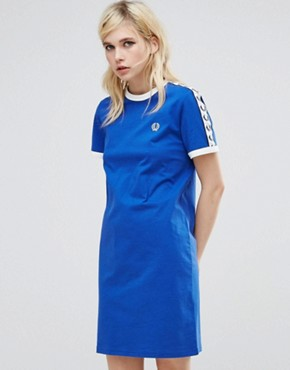 photo Archive T-Shirt Dress with Logo Tape by Fred Perry, color Blue - Image 1