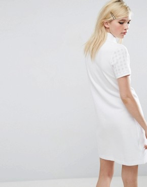 photo Polo Dress with Gingham Sleeve by Fred Perry, color White - Image 2