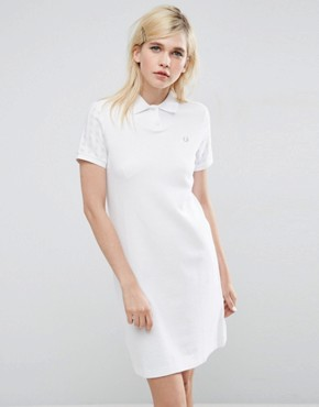 photo Polo Dress with Gingham Sleeve by Fred Perry, color White - Image 1