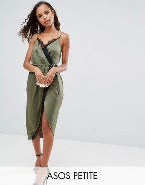 photo Hammered Satin Lace Trim Cami Sexy Wrap Midi Dress by ASOS PETITE, color Khaki - Image 1