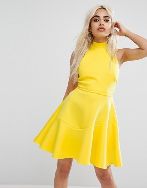 photo Lace Up Back Skater Mini Dress by ASOS PETITE, color Yellow - Image 2