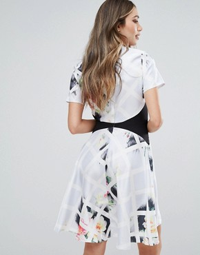 photo Printed Floral High Low Hem Dress by Oh My Love, color Diamond Floral - Image 2