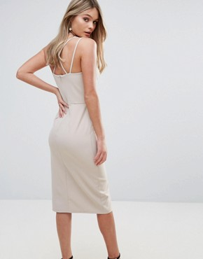 photo Cross Front Bodycon Dress by Oh My Love, color Tan - Image 2