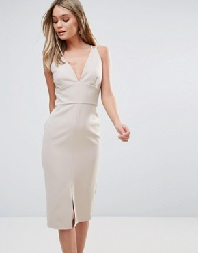 photo Cross Front Bodycon Dress by Oh My Love, color Tan - Image 1