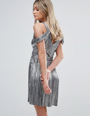 photo Metallic Cold Shoulder Mini Dress by Oh My Love, color Metallic - Image 2