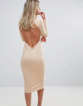 photo Midi Dress in Rib with Front Bow by Oh My Love, color Caramel - Image 2