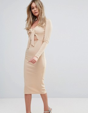 photo Midi Dress in Rib with Front Bow by Oh My Love, color Caramel - Image 1