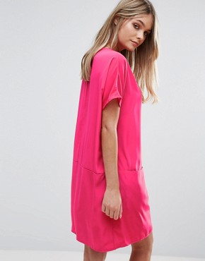 photo Boxy Tshirt Dress by Oh My Love, color Cerise - Image 2
