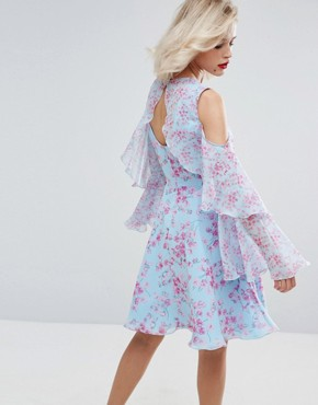 photo Floral Print Midi Dress in Chiffon by Horrockses, color Blue Pink Print - Image 2