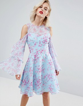 photo Floral Print Midi Dress in Chiffon by Horrockses, color Blue Pink Print - Image 1