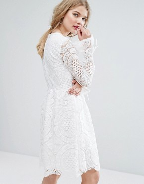photo Cutwork Lace Fluted Sleeve Smock Dress by Vila Premium, color White - Image 2
