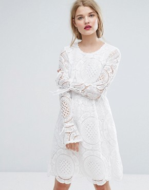 photo Cutwork Lace Fluted Sleeve Smock Dress by Vila Premium, color White - Image 1
