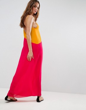 photo Beach Colour Block Asymmetric Maxi by ASOS, color Orange/Hot Pink - Image 2