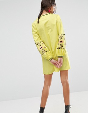 photo Long Sleeve Embroidered Sundress by ASOS, color Yellow - Image 2