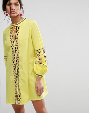 photo Long Sleeve Embroidered Sundress by ASOS, color Yellow - Image 1