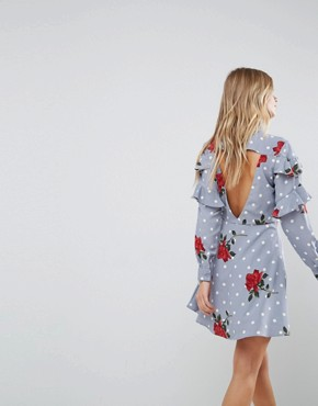 photo Ruffle Front Shirt Dress in Spot and Floral Print by ASOS, color Multi - Image 2