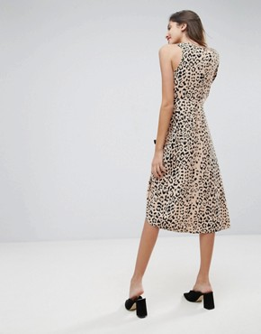 photo Midi Dress with One Sleeve and Ruched Detail in Animal Print by ASOS, color Multi - Image 2